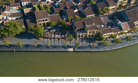 Aerial View Panoramic Of Hoi An Old Town Or Hoian Ancient Town. Royalty High-quality Free Stock Phot