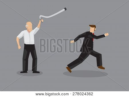 Vector cartoon illustration of old man using walking cane to chase away salesperson isolated on grey background. poster