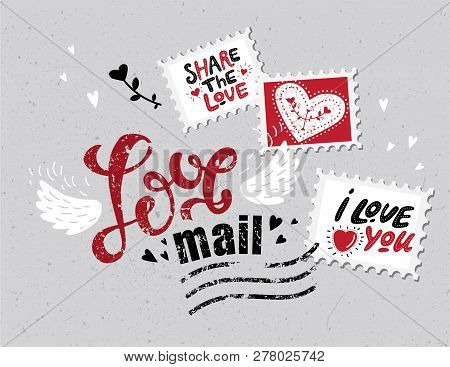 Lettering Love Mail In The Form Of Postage Stamp Postage Stamps With Phrases About Love: True Love,