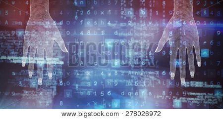 3d image of white human hand against image of data
