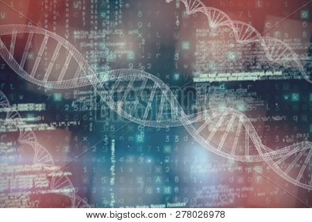 3d image of DNA  against image of data
