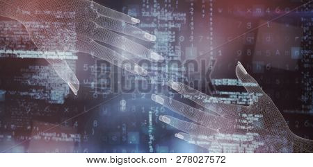 3d image of hand  against image of data