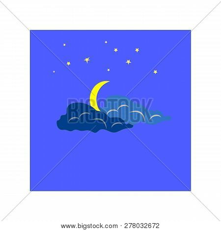 Weather Icon. Moon And Dawn. Meteorology Symbol Thunderstormy. Isolated Icon Bad Weather. Design Ele