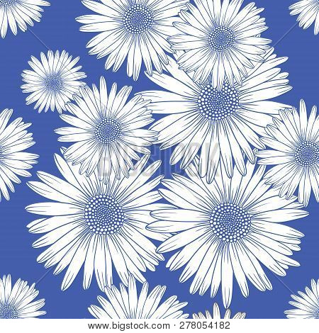 Seamless Pattern With Chamomile, Decorative Background. Hand Drawn Style Vector Design Illustrations