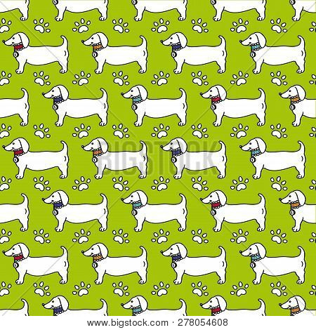 Seamless Pattern - Dog Profile, Paw Trace Isolated On Green Background In Flat Style. Breed Dachshun