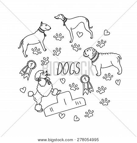Set Of Design Elements - Dog Breeds (dachshund, Laika, Dalmatian, Retriever, Beagle, German Shepherd