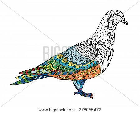 Drawing Stylized Dove (pigeon). Freehand Sketch For Adult Anti Stress Coloring Book For Adultpage Wi