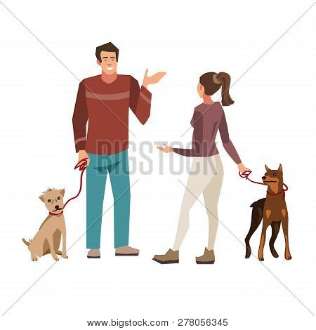Young People ( Guy And Girl) Talking While Walking Their Dogs.  Illustration Of People With Pets Iso
