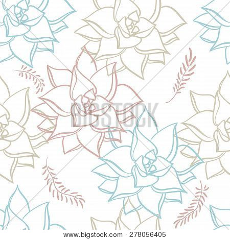 Succulent. Hand Drawn Seamless Pattern Plants On White Background. Floral Texture