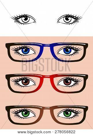 Eyes Isolated On White Background. Set Of Women's Eyes