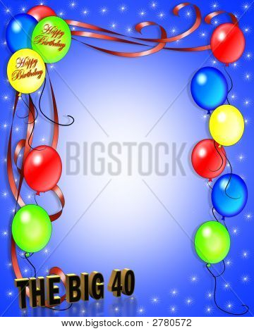 40Th  Birthday Party Balloons Invitation