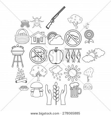 Countryside Icons Set. Outline Set Of 25 Countryside Vector Icons For Web Isolated On White Backgrou