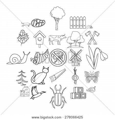 Settlement Icons Set. Outline Set Of 25 Settlement Vector Icons For Web Isolated On White Background