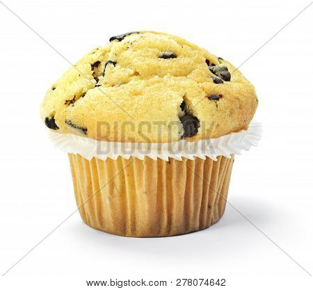 Delicious Vanilla Muffin With Chocolate, Isolated On White Background. Muffin And Paper, Sweet Food
