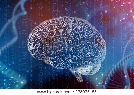 3D Illustration Grid Of Digital Brain. Artificial Intelligence And The Limitless Possibilities Of Th
