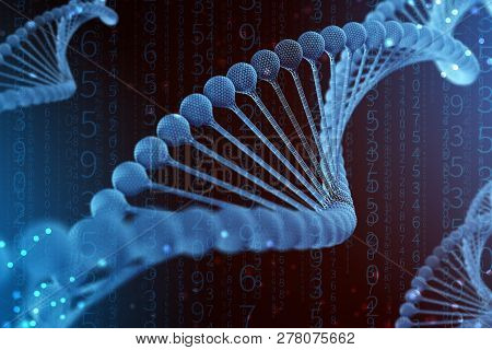 3D Illustration Of Dna Molecule. The Helical Blue Molecule Of A Nucleotide In Organism Like In Space