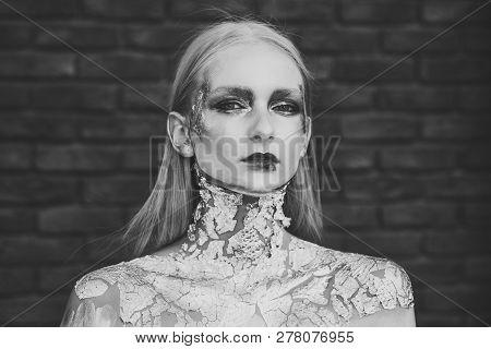 Halloween Makeup, Visage. Fashion Woman With Art Make Up, Creative Bodyart. Skincare, Skin Treatment