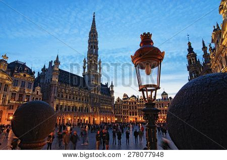 Brussels, Belgium- 01 May, 2018:the Grand Place (grote Markt) Is The Central Square Of Medieval Brus