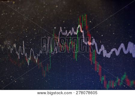 Financial Candlestick Chart With Line Graph And Stock Numbers On Gradient Blue Color Background