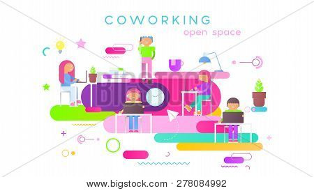 Coworking Space Concept - Young Cartoon Creative People Working In Modern Coworker Center. Vector Il
