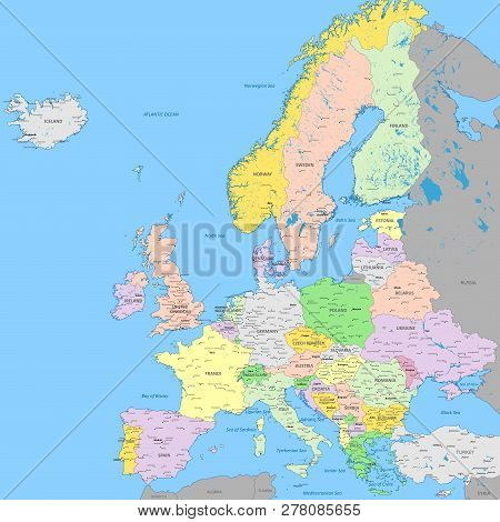Europe Political Map | High Detail Color Vector Atlas With Capitals, Cities, Towns Names, Seas, Rive