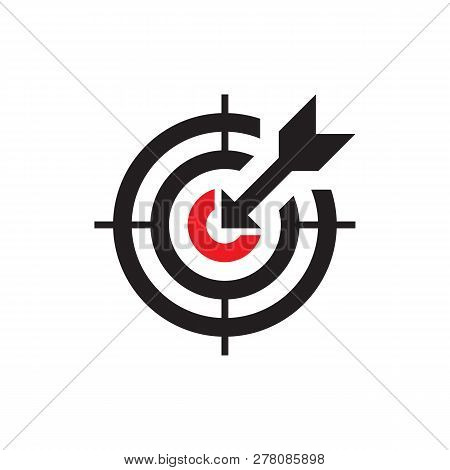 Target With Arrow - Black Icon Onwhite Background Vector Illustration. Business Strategy Concept Sig