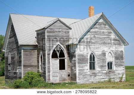 A Old Abandoned Church Outside A Small Town In Western North Dakota.