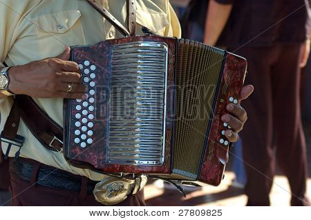 Accordian player at the Día de los Muertos - Day of the Dead Celebrations on Olevera Street, Los Angeles, California