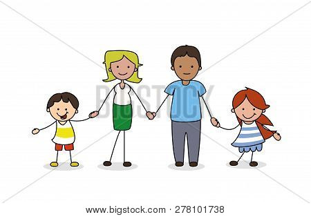 Family Illustration - Father, Mother Boy And Girl