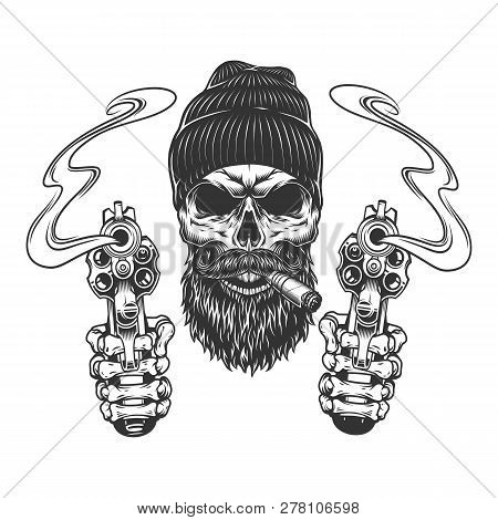 Bearded And Mustached Gangster Skull In Beanie Hat Smoking Cigar And Skeleton Hands Holding Pistols