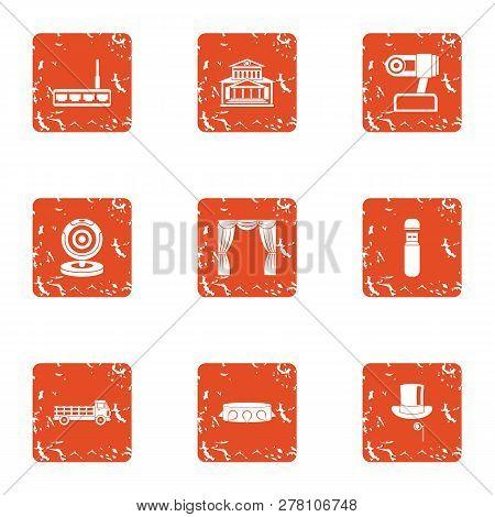 Progress In Robotics Icons Set. Grunge Set Of 9 Progress In Robotics Icons For Web Isolated On White