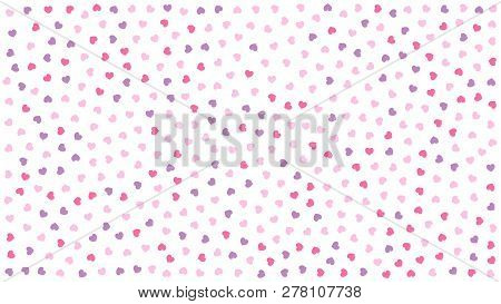 Cute Hearts. Background With Small Hearts. Pattern With Small Purple Pink Hearts On White Background