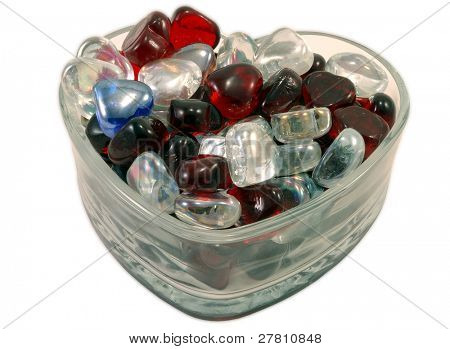 Heart shaped bowl filled with glass hearts