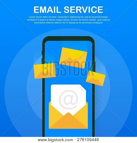 Email Marketing Campaign, Newsletter Marketing, Drip Marketing. Vector Stock Illustration.