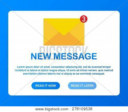 Email Notification Concept. New Email. Vector Stock Illustration.