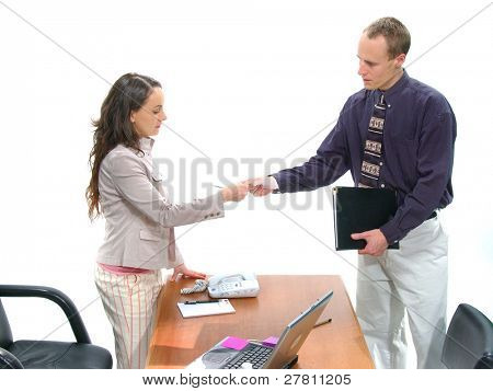 Businessman and woman conducting a meeting poster