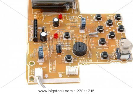 Detail of a section of electronics circut board