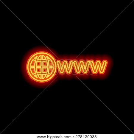 Symbol Of Internet With Globe And Www. Orange Neon Style On Black Background. Light Icon