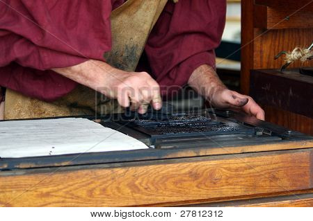 Typesetting as it was  done in the renaissance period.