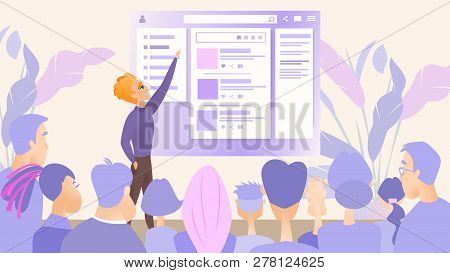 Illustration Presentation Digital Product Company. Vector Image Young Man Talks About New Product By