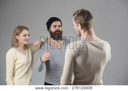 Hello Friend. Circle Of Friends. Friends Exchanging Greetings. Couple Of Bearded Man And Woman Meeti