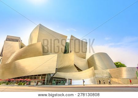 Los Angeles, California, United States - August 9, 2018: Walt Disney Concert Hall, By Frank Gehry, G