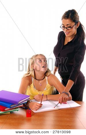August means Back To School,  Teacher and student in a classroom environment isolated over white.
