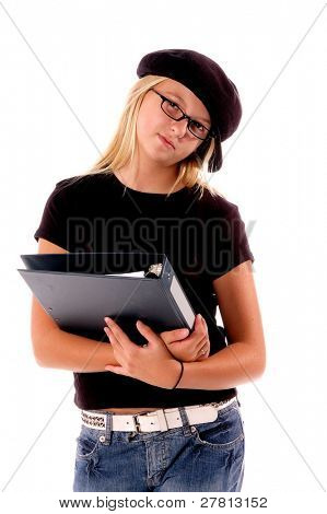 August means Back To School,  Stylish young  Middle School student with a note book in her arm  isolated over white.