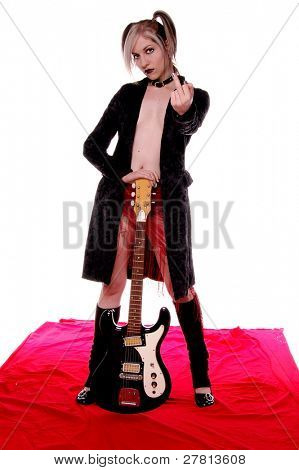 Nude Goth Rock guitar player flying the bird