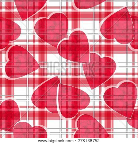 Seamless Valentines Day Red Hearts White Ckeckered Plaid Pattern Background