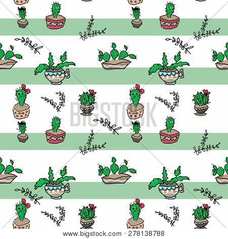 Seamless Cartoon Kids Fun Cactuses Pattern On Striped Green White Background