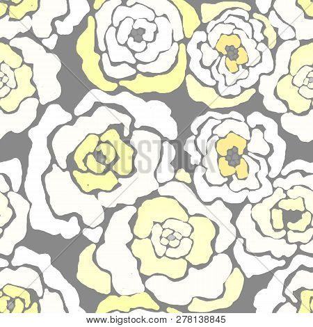 Seamless Floral Flowers Yellow Gray Modern Brush Pattern Background