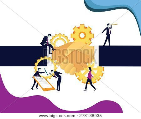 Vector Illustration. Deal Agreement Partnership In Business Concept, Businessman Doing Hand Shake