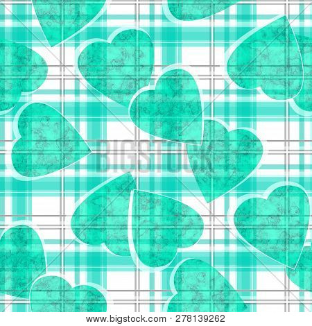 Seamless Valentines Day Green Hearts White Ckeckered Plaid Pattern Background